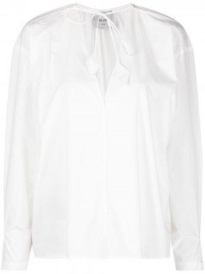 Блузка с завязками на воротнике Alysi. Цвет: белый