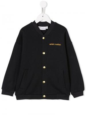 Cat-patch baseball jacket Mini Rodini. Цвет: черный