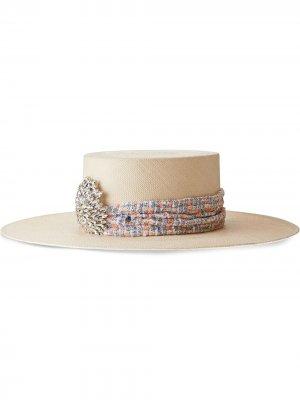Соломенная шляпа с кристаллами Maison Michel. Цвет: белый
