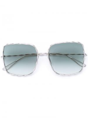 Крупные солнцезащитные очки Elie Saab. Цвет: золотистый