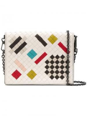 Сумка на плечо с плетением intrecciato Bottega Veneta. Цвет: белый