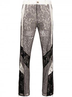 Укороченные брюки с кружевом Koché. Цвет: серый