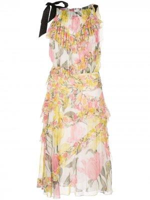 Ярусное платье с цветочным принтом Jason Wu Collection. Цвет: белый