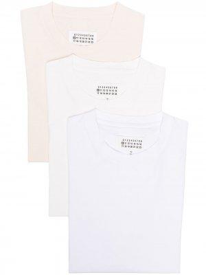 Комплект из трех футболок Maison Margiela. Цвет: белый