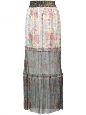 Юбка макси из тюля с цветочным принтом Anna Sui. Цвет: нейтральные цвета