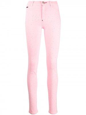 Декорированные джегинсы Philipp Plein. Цвет: розовый