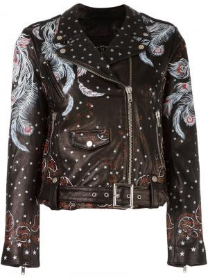 Байкерская куртка с принтом перьев Htc Los Angeles. Цвет: чёрный