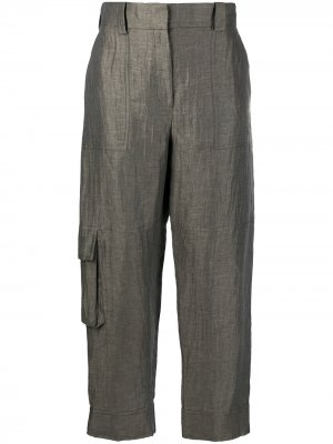 Зауженные брюки с карманами Eleventy. Цвет: зеленый