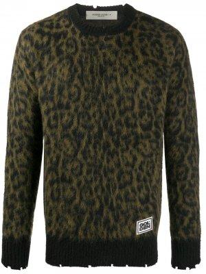 Джемпер с леопардовым принтом Golden Goose. Цвет: зеленый