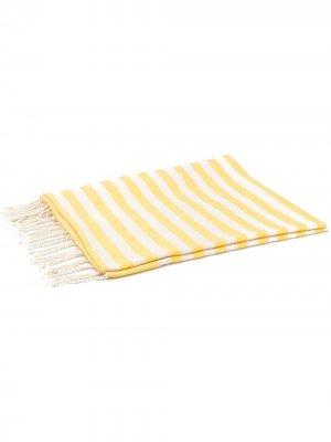 Пляжное полотенце в полоску с бахромой Mc2 Saint Barth. Цвет: желтый