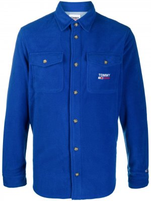 Флисовая рубашка Tommy Jeans. Цвет: синий