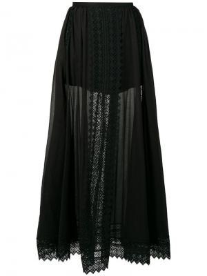 Юбка макси с кружевными вставками Charo Ruiz. Цвет: черный