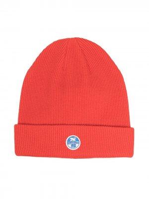 Трикотажная шапка с нашивкой-логотипом North Sails Kids. Цвет: оранжевый