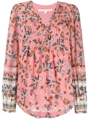 Блузка с цветочным принтом и плиссировкой Veronica Beard. Цвет: розовый