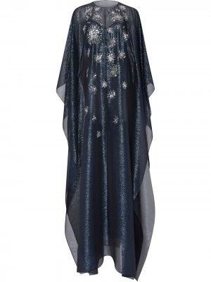 Платье-кафтан с пайетками Oscar de la Renta. Цвет: синий