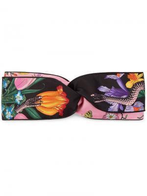 Ободок для волос Flora Snake Gucci. Цвет: черный
