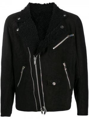 Байкерская куртка Les Hommes. Цвет: черный
