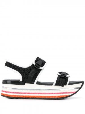 Сетчатые сандалии H222 на платформе Hogan. Цвет: черный
