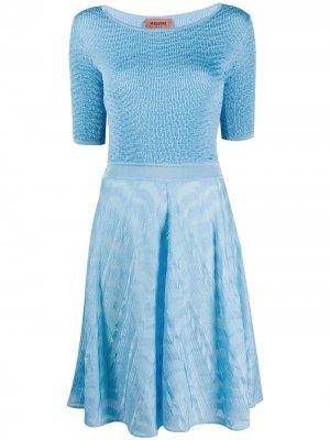 Платье с короткими рукавами и контрастной вставкой Missoni. Цвет: синий