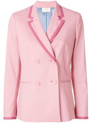 Двубортный блейзер Sara Battaglia. Цвет: розовый