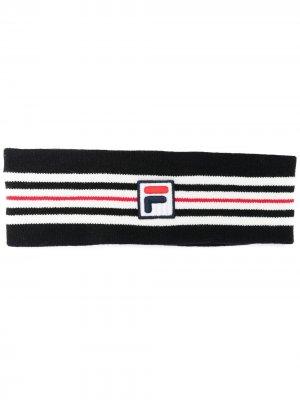 Полосатая повязка на голову с логотипом Fila. Цвет: черный