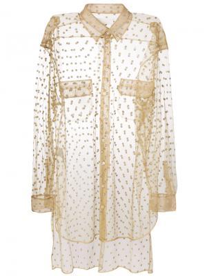 Блестящая прозрачная декорированная рубашка Maison Margiela. Цвет: нейтральные цвета