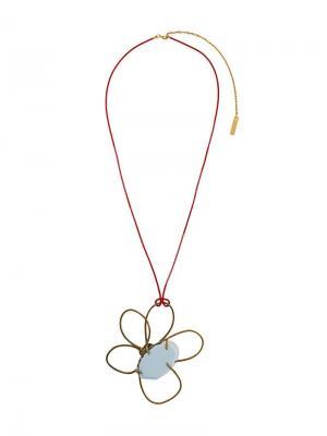 Колье с кулоном в виде цветка Marni. Цвет: синий