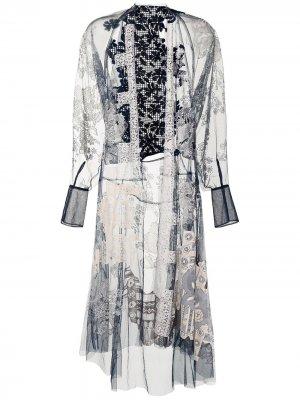 Прозрачный халат с вышивкой Biyan. Цвет: синий