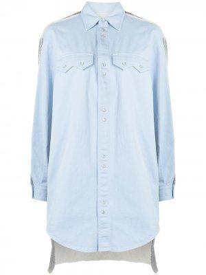 Рубашка с контрастной спинкой MM6 Maison Margiela. Цвет: синий