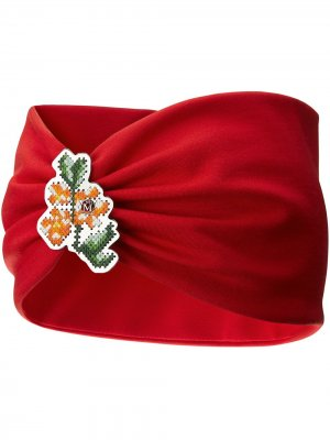 Повязка на голову Kasia с цветочной вышивкой Maison Michel. Цвет: красный