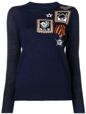 Patch knit jumper Temperley London. Цвет: синий
