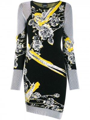 Трикотажное платье с цветочным узором Just Cavalli. Цвет: черный