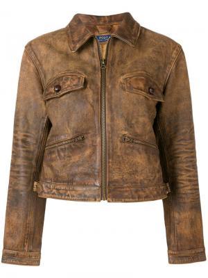 Кожаная куртка с застежкой на молнии Polo Ralph Lauren. Цвет: коричневый
