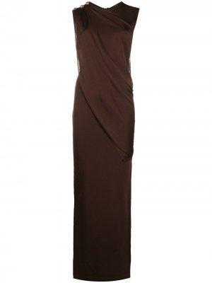 Трикотажное платье макси с драпировкой Balmain. Цвет: коричневый