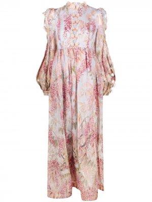 Платье с аппликацией Zimmermann. Цвет: нейтральные цвета