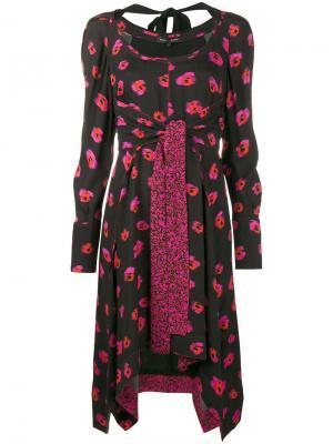 Платье с длинными рукавами и цветочным принтом Proenza Schouler. Цвет: черный