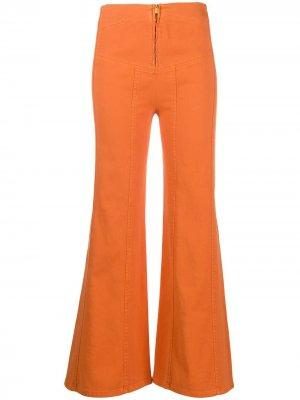 Расклешенные брюки с завышенной талией Alberta Ferretti. Цвет: оранжевый