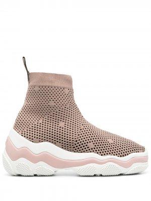 Сетчатые кроссовки-носки RED(V). Цвет: розовый