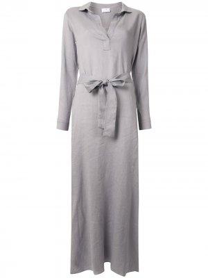 Платье-рубашка макси Pour Les Femmes. Цвет: серый