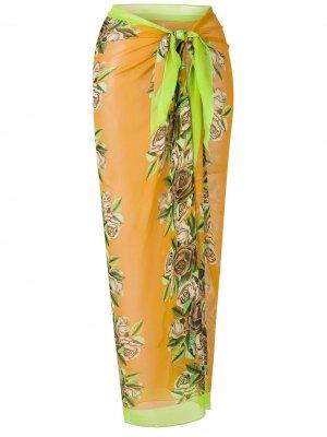 Длинная юбка-саронг с цветочным принтом Amir Slama. Цвет: желтый
