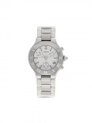 Наручные часы Must 21 pre-owned 38 мм 2005-го года Cartier. Цвет: белый
