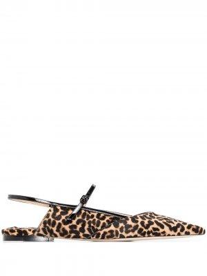 Балетки Ree с леопардовым принтом Jimmy Choo. Цвет: черный