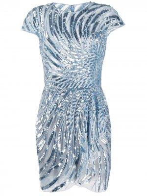 Платье с пайетками Zuhair Murad. Цвет: синий