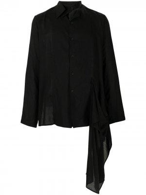 Рубашка асимметричного кроя с завязками Yohji Yamamoto. Цвет: черный