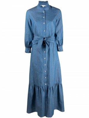 Джинсовое платье макси Borgo De Nor. Цвет: синий