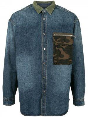 Джинсовая рубашка в технике пэчворк FIVE CM. Цвет: синий