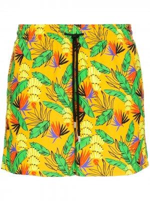 Плавки-шорты с цветочным принтом Vilebrequin. Цвет: оранжевый