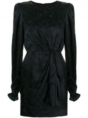 Атласное платье мини с цветочным принтом Saloni. Цвет: черный