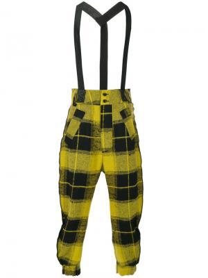 Клетчатые брюки на подтяжках Lost & Found Ria Dunn. Цвет: чёрный