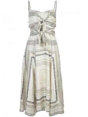 Узорчатое платье с завязками на груди Derek Lam. Цвет: желтый